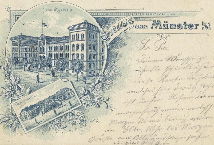 Eine alte Ansichtskarte von der Trainkaserne