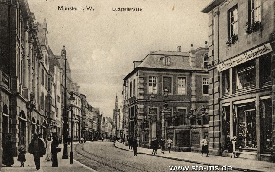 Die Ludgeristraße um 1910, rechts der Merveldter Hof