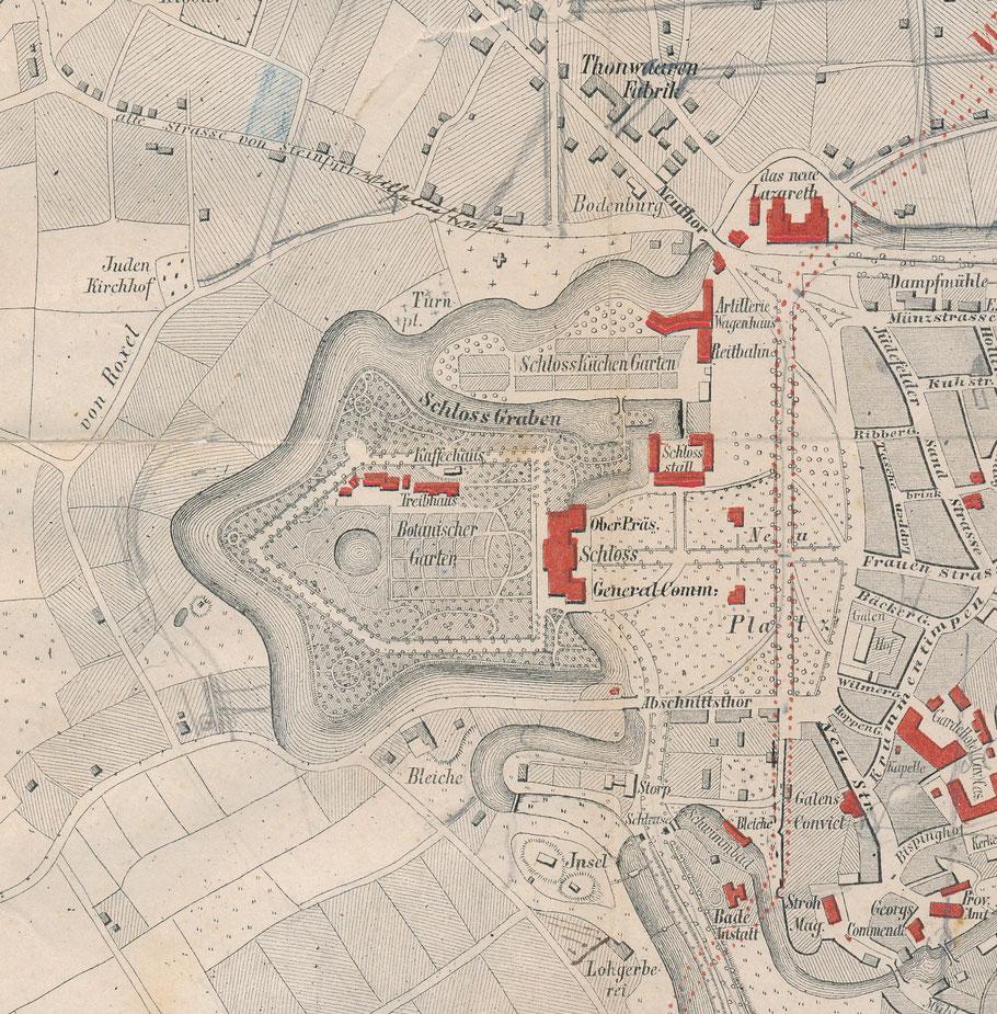 Ausschnitt Stadtplan 1864 aus Heinrich Geisbergs Büchlein: Merkwürdigkeiten der Stadt Münster