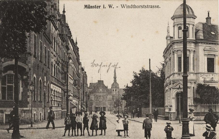 Blick von der Windthorststraße Richtung Bahnhof