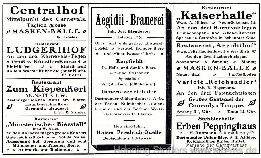Werbung zum Karneval 1914