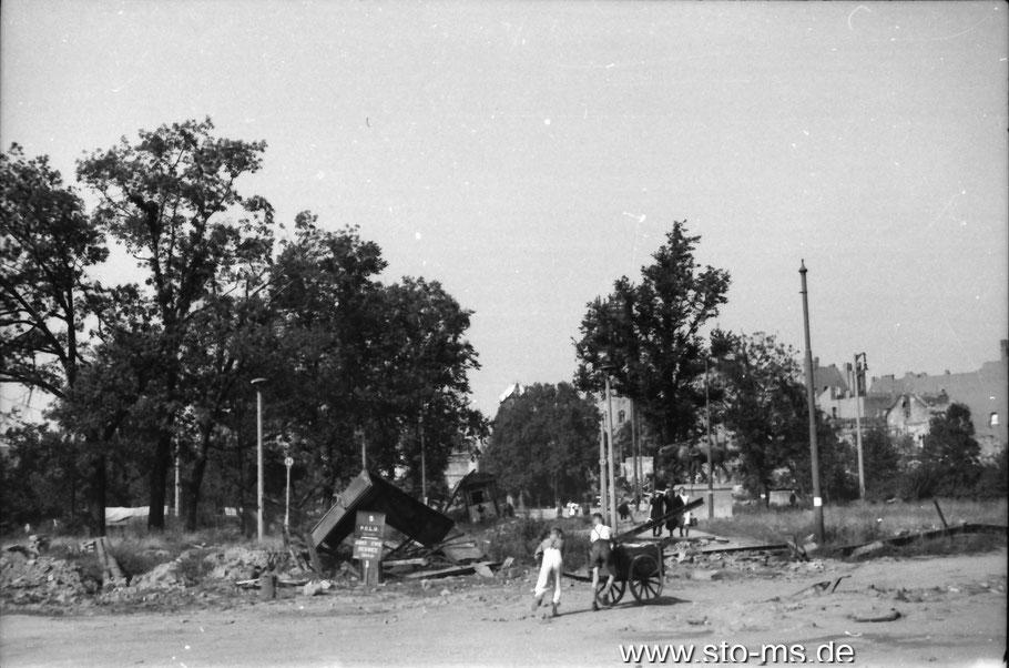 Der Ludgeriplatz im Sommer 1946 - Foto Carl Pohlschmidt ULB Münster