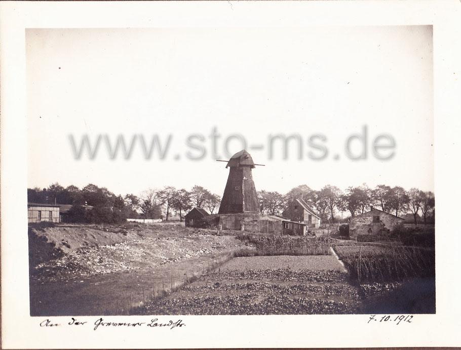 Die Eschmühle 1912. Im Hintergrund die Grevener Straße. Aufnahme Prof. Geyser