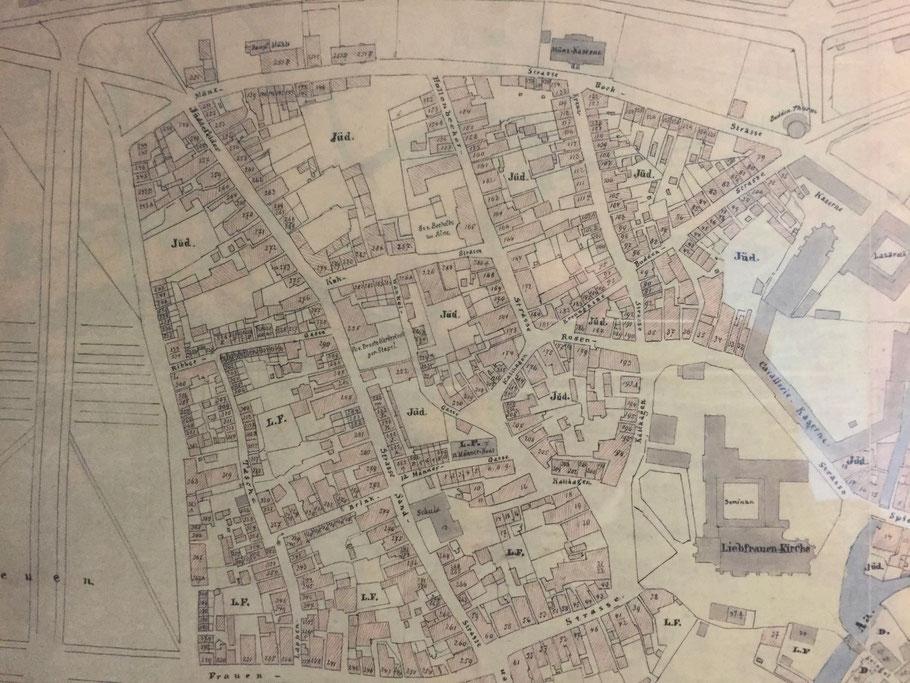 Ausschnitt Stadtplan Hundt von 1862 - 6222.284.15