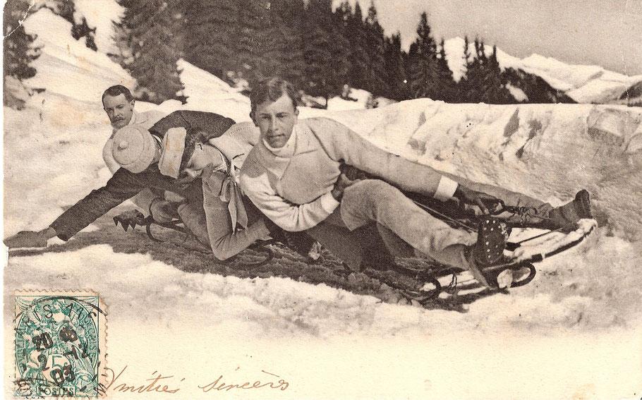 Un bob en 1903 dans les Alpes