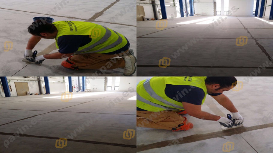 Masillado de juntas de retracción propias de un pavimento de hormigón para aplicar luego un autonivelante de resinas epoxi