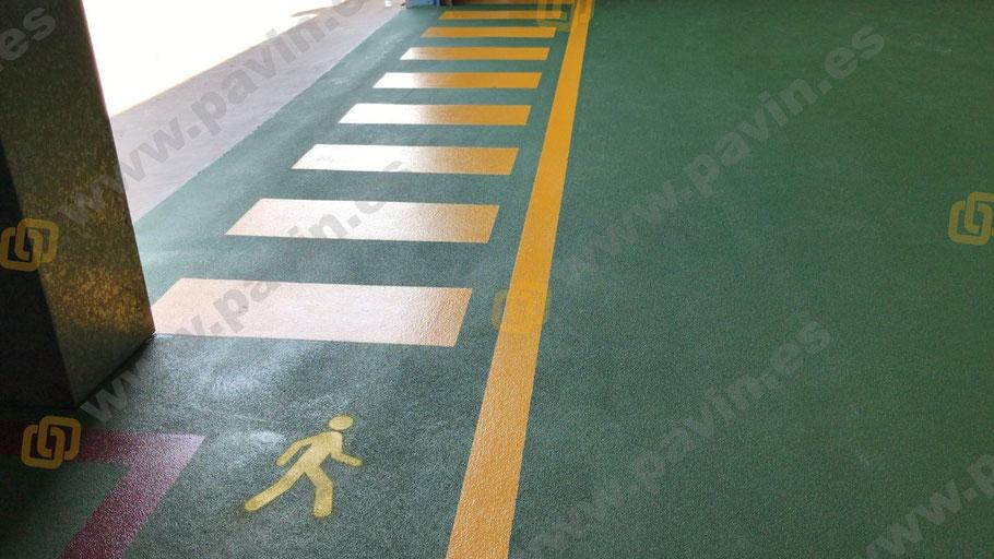 resultado final de la aplicación para la Señalización pasos peatonales, pasillos peatón con muñeco y zona anti incendios
