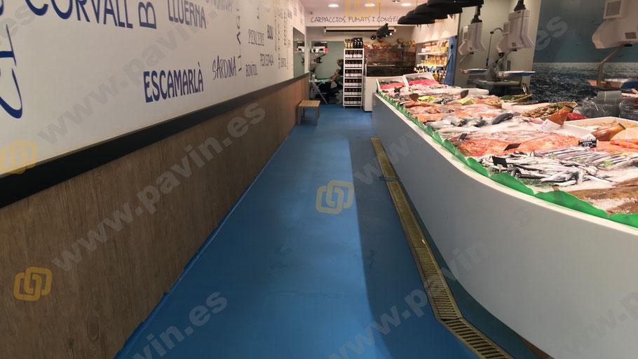 Suelos de resina para pavimentos industriales en pescaderías y paradas del mercado aplicados por Grupo Pavin