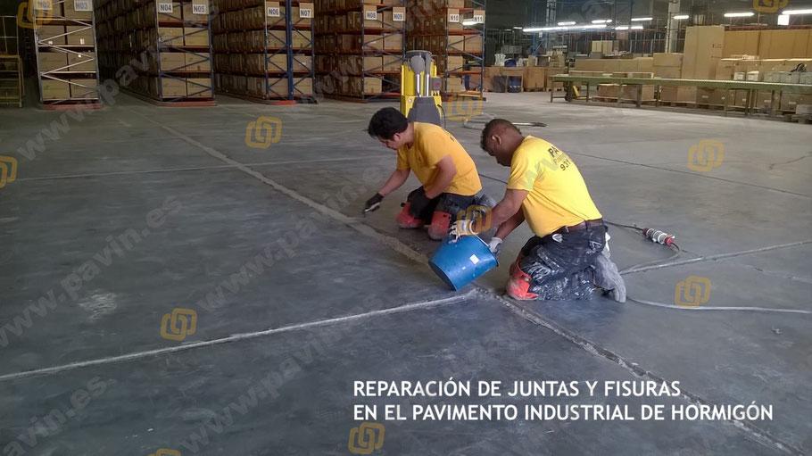 Grupo Pavin realiza el saneado de juntas de retracción en el pavimento de hormigón del almacén logístico de la empresa