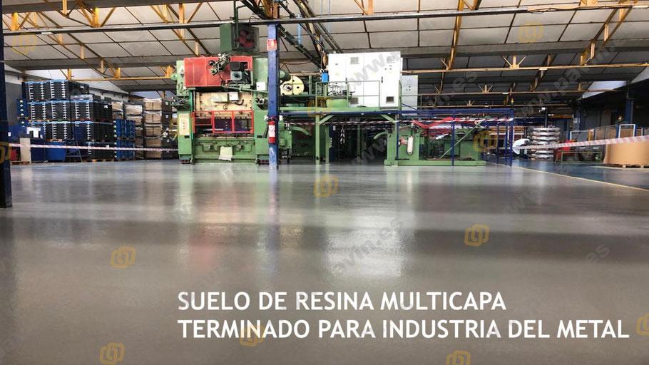 Suelo de resina multicapa terminado para la industria del metal