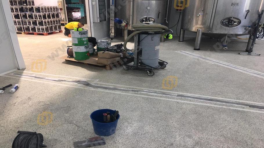 Parcheo con resinas de secado rápido para el pavimento industrial de una empresa vinícola realizado por Grupo Pavin