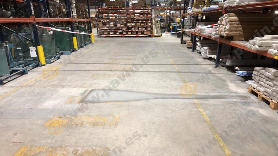 Masillado y saneado de juntas en los pavimentos de hormigón por Grupo Pavin así como fisuras o pequeños impactos