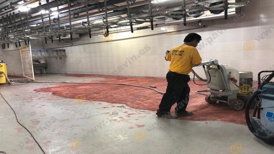 Pintar suelos de resina para naves de mataderos antideslizantes es tarea de Grupo Pavin