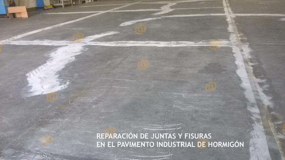 Juntas y fisuras reparadas, las marcas de pulir con la máquina de desbastado desaparecen en unos días del pavimento de hormigón