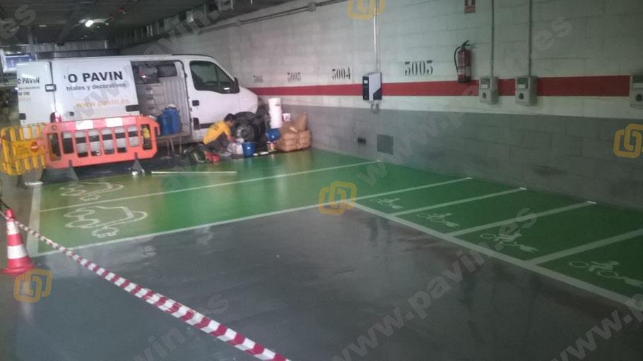 Suelos de resina para pavimentos industriales en parkings y garajes aplicados por Grupo Pavin