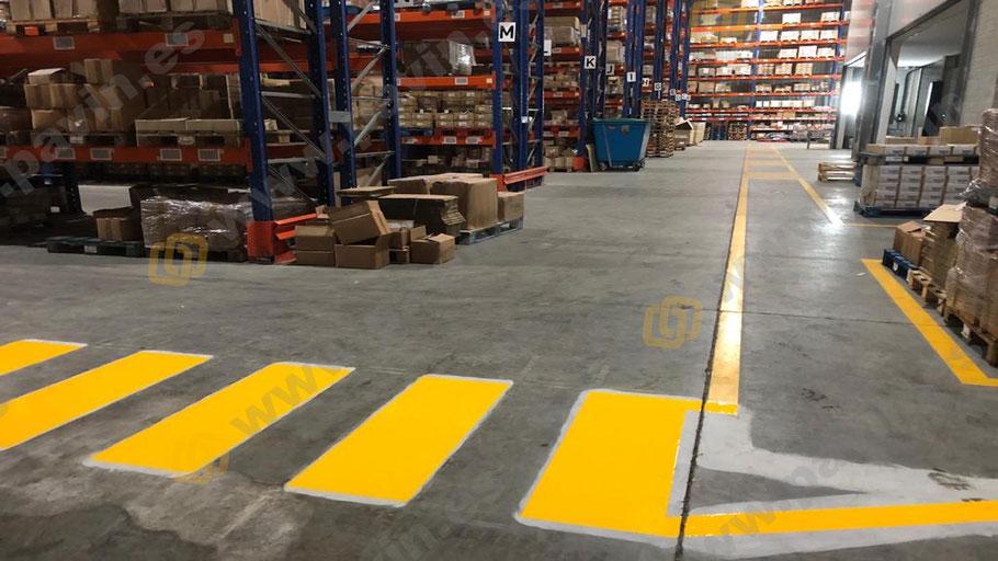 Grupo pavin realiza la señalización de pasos de cebra y pasillos peatonales en la empresa