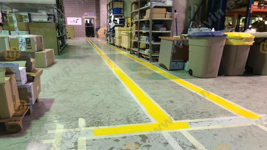 detalle del pasillo peatonal antes de terminar su señalización en segunda capa