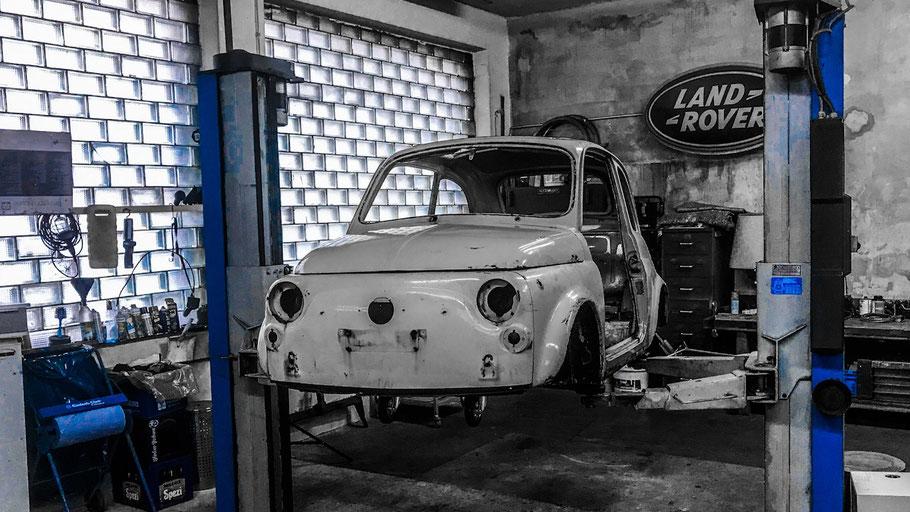 Trockeneisstrahlen Karosserie Fiat 500