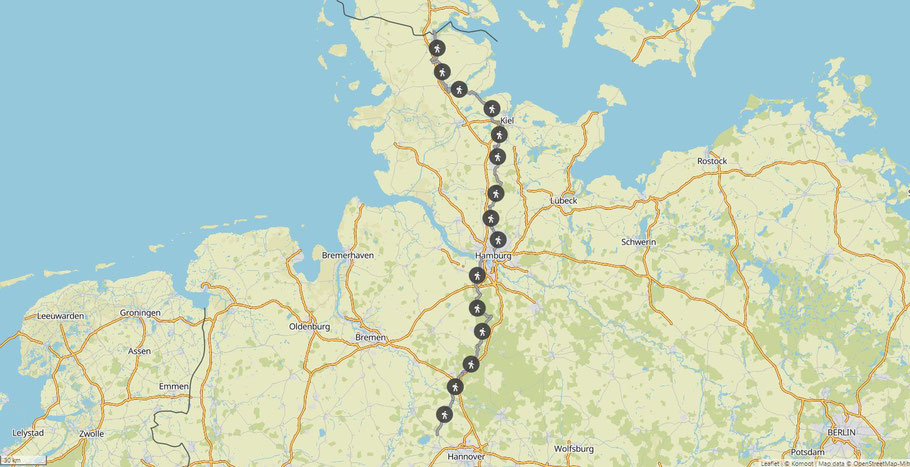 Deutschlands Norden, E1 Tag 1-15, 457km (Karte: Komoot Collection)