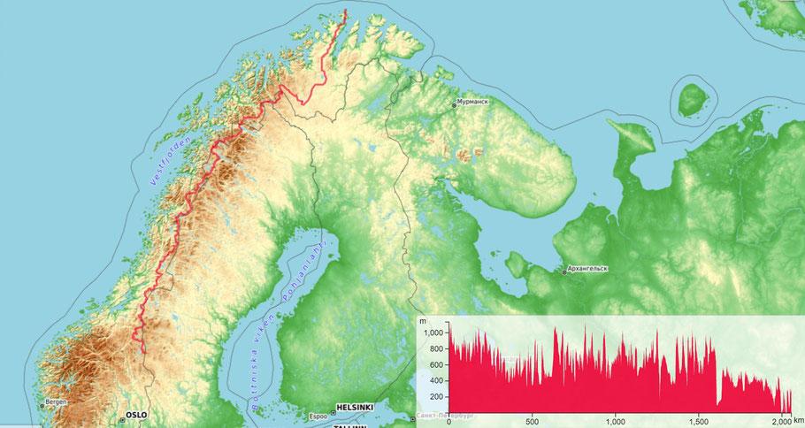 die Route des E1 durch Norwegen ist 2000km lang (auf Basis der OpenTopoMap online)