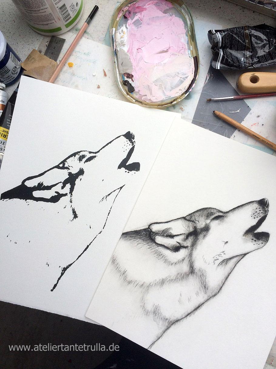 Siebdruck und Zeichnung Wolf