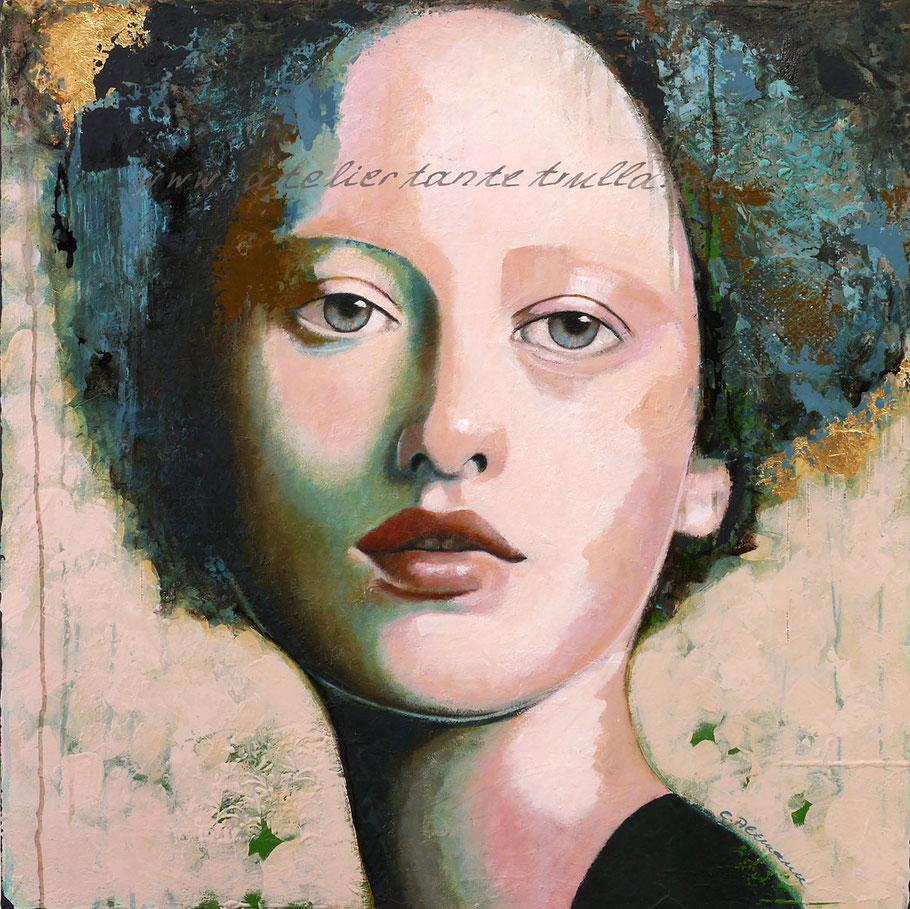 abstraktes Gemaelde Portrait Frau mit Blattgold