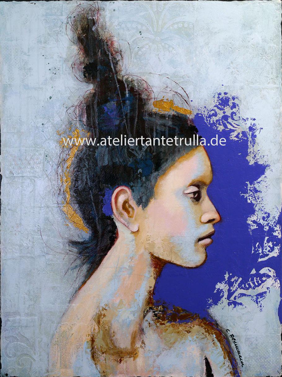 blaues, abstraktes Gemaelde Portrait Frau