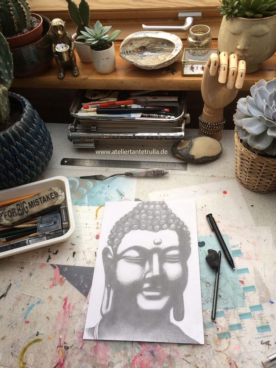 Buddha Zeichnung Bleistift