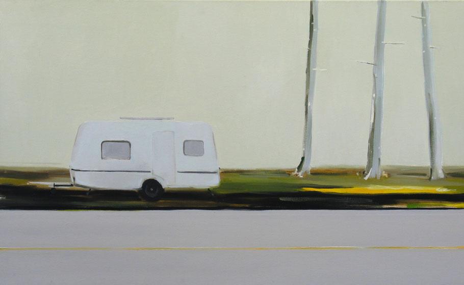 Matthieu van Riel Schilderijen. Caravan aan parkeerplaats 80x130cm olie op canvas 2004