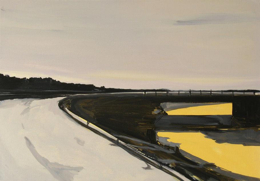 Matthieu van Riel. Schilderij. Spiegeling in water 60x85cm olieverf op canvas 2011