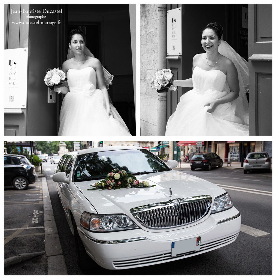 reportage mariage à Bordeaux limousine blanche
