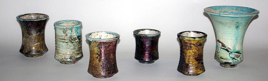 Kleinserie Raku Vasen mit unterschiedlichen Farbverläufen