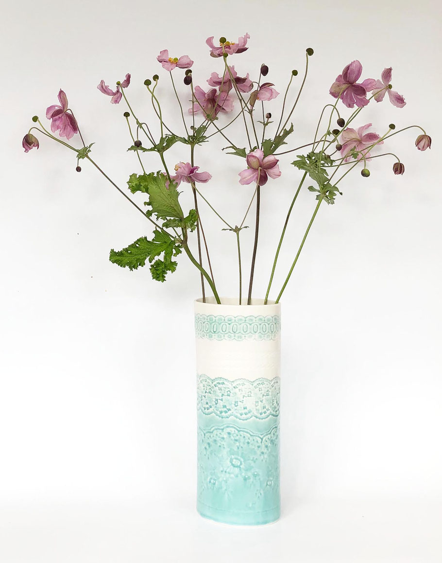 large porcelain vase aqua blue green lace detail