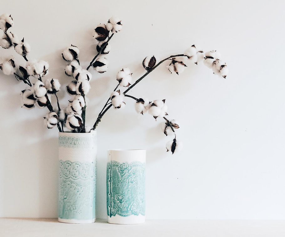 beautiful fine porcelain vases with lace imprint detail