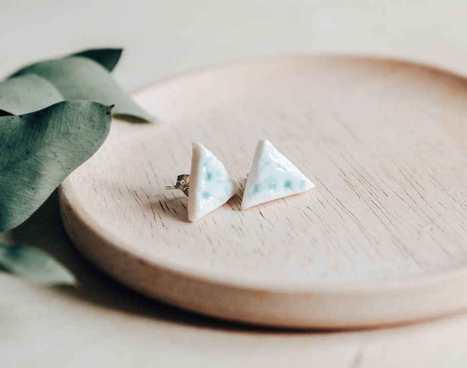 porcelain lace triangle ladies stud aqua blue ceramic jewellery earrings