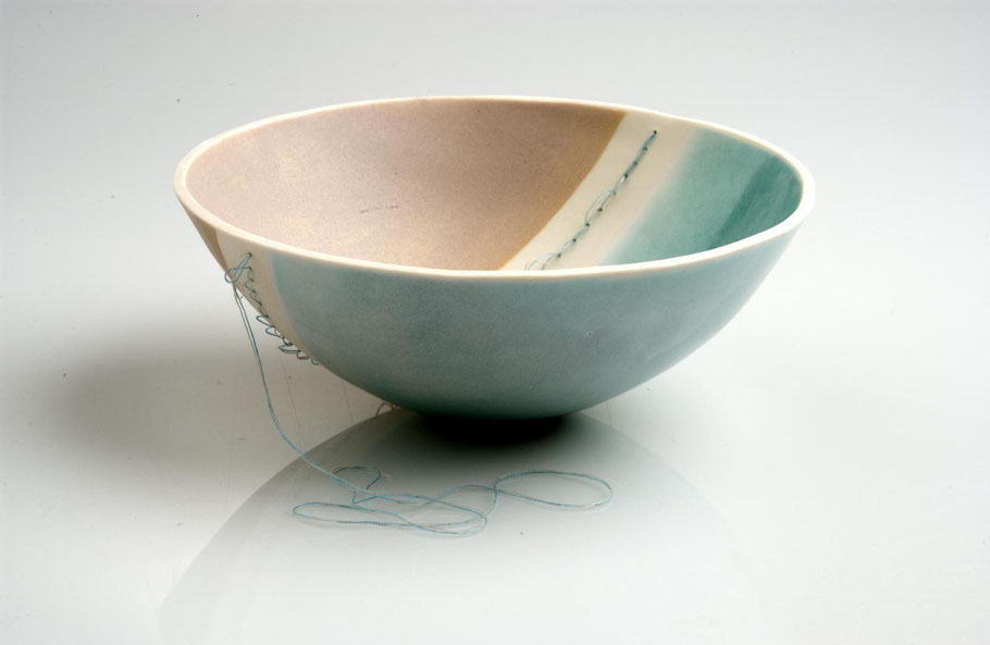 stitched fine porcelain bowl