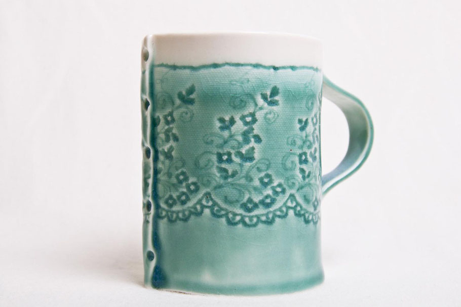 porcelain coffee mug aqua blue lace imprint dishwasher safe