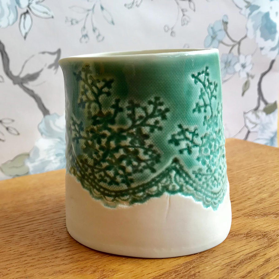 stylish handmade porcelain jugs and pitchers with lace imprint detail