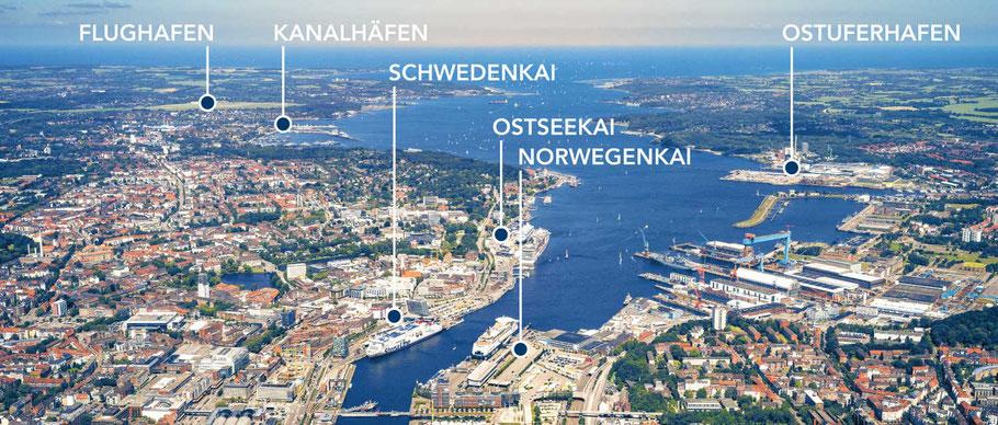 Die Kreuzffahrtterminals Quelle: Port of Kiel  https://www.portofkiel.com/cruise_ferry/unsere-terminals.html