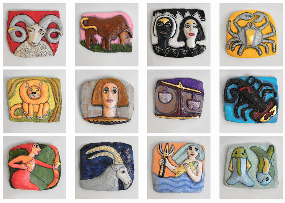 Die 12 Tierkreiszeichen, Grafiken von Susanne Stuwe-Thiel