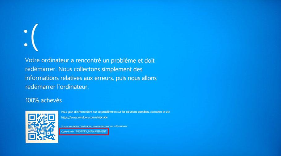 Erreur de démarrage Windows 10
