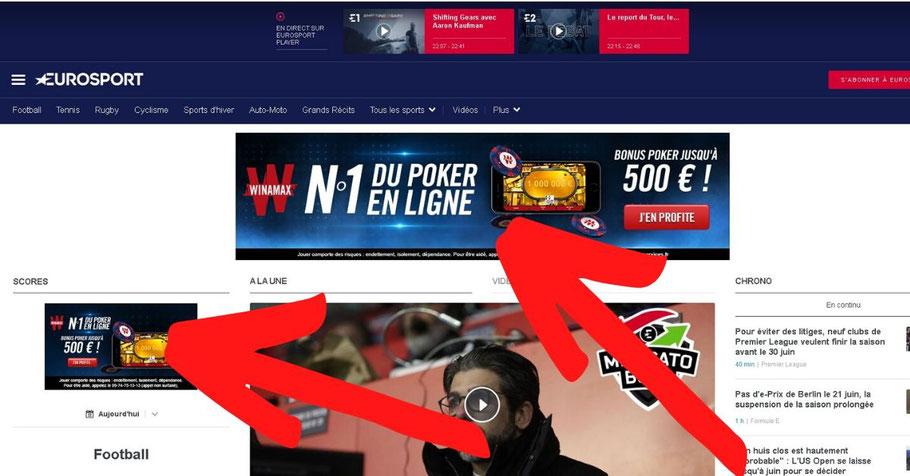 Exemple de publicités sur le site de Eurosport.fr