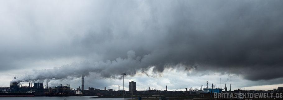 Hafen,Amsterdam,IJmuiden,Fabrik,Schornstein,Wolken