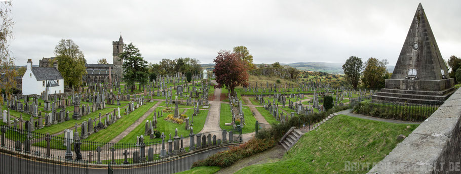 Stirling,castle,Panorama,Cemetery,Church,of the holy rude,star,pyramid,Herbst,Oktober,Schottland