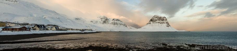 Kirkjifell,himmel,grundarfjördur,fjord,iceland,panorama,winter,snow,sunrise
