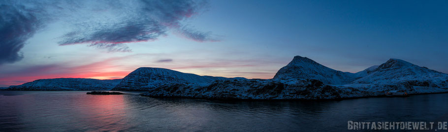 Havøysund,Sonnenaufgang,Panorama,Norwegen,Hurtigruten,ms,Midnatsol, Postschiff,Winter,November