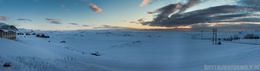 Hotel,Smyrlabjörg,Höfn,Aussicht,Panorama,Island,Winter,Februar,Schnee.