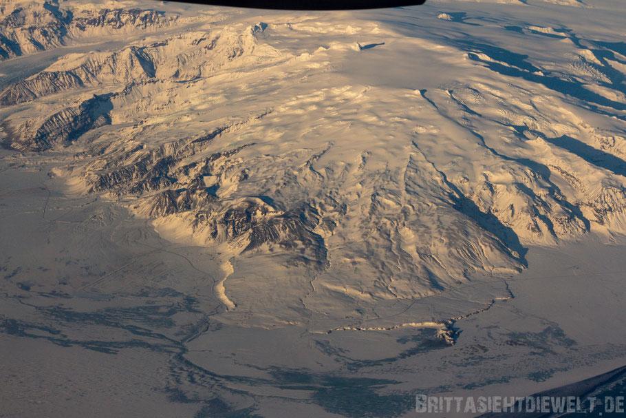 Hvannadalshnúkur,höchster,Gipfel,Vulkanmassiv,Öræfajökull,Skaftafell,Vatnajökull,Luftbild,Flugzeug