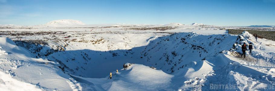 Krater,Kerið,Kratersee,Golden,circle,winter,Tipps,Island,selber,fahren,Schnee,Iceland,Panorama.