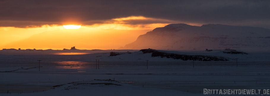 Sonne,Panorama,Eis,Meer,Fjord,Island,Winter,Februar,Schnee.